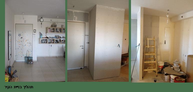 תהליך בניית הקיר במסגרת עיצוב קירות