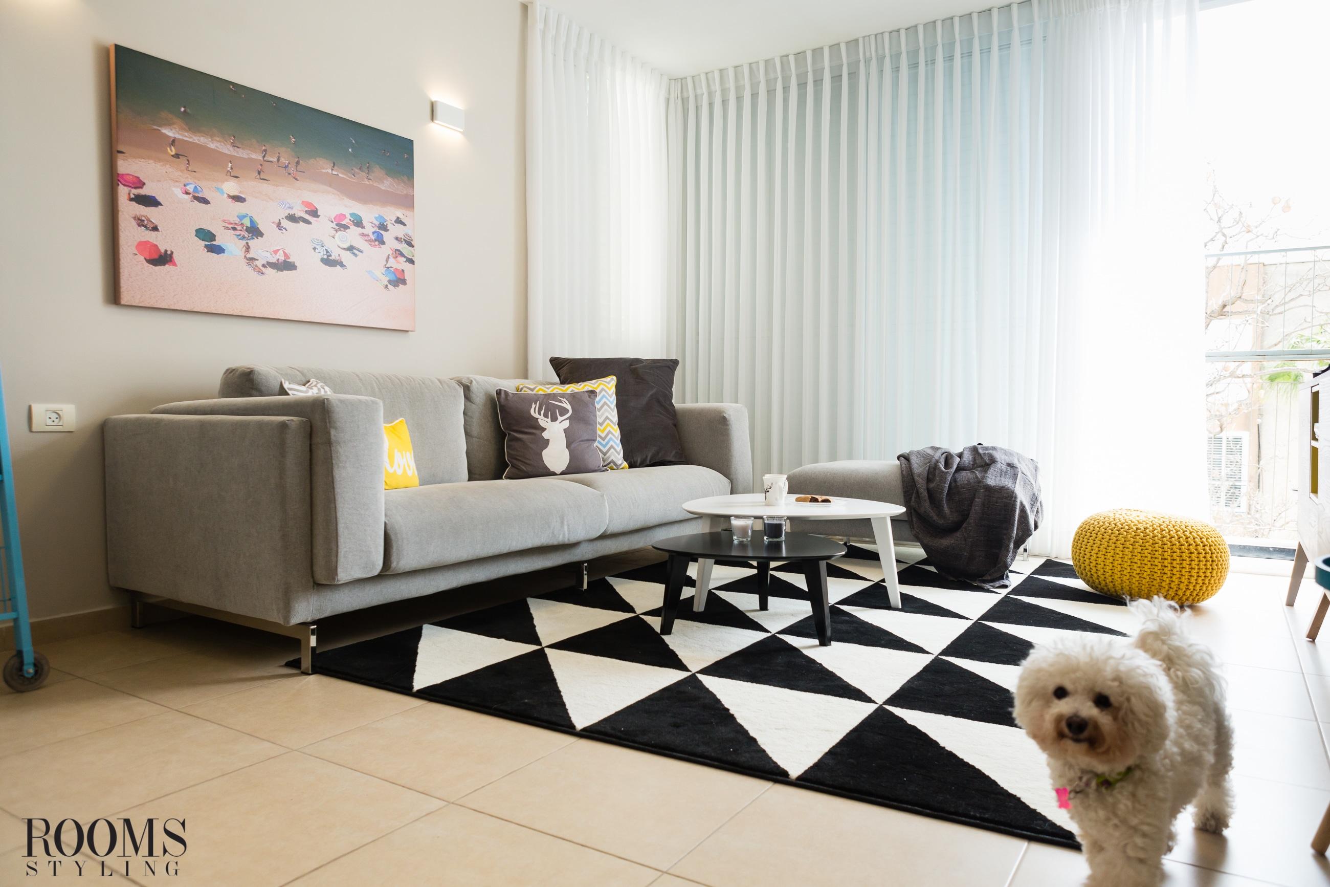 הום סטיילינג לסלון מודרני בדירה בהרצליה