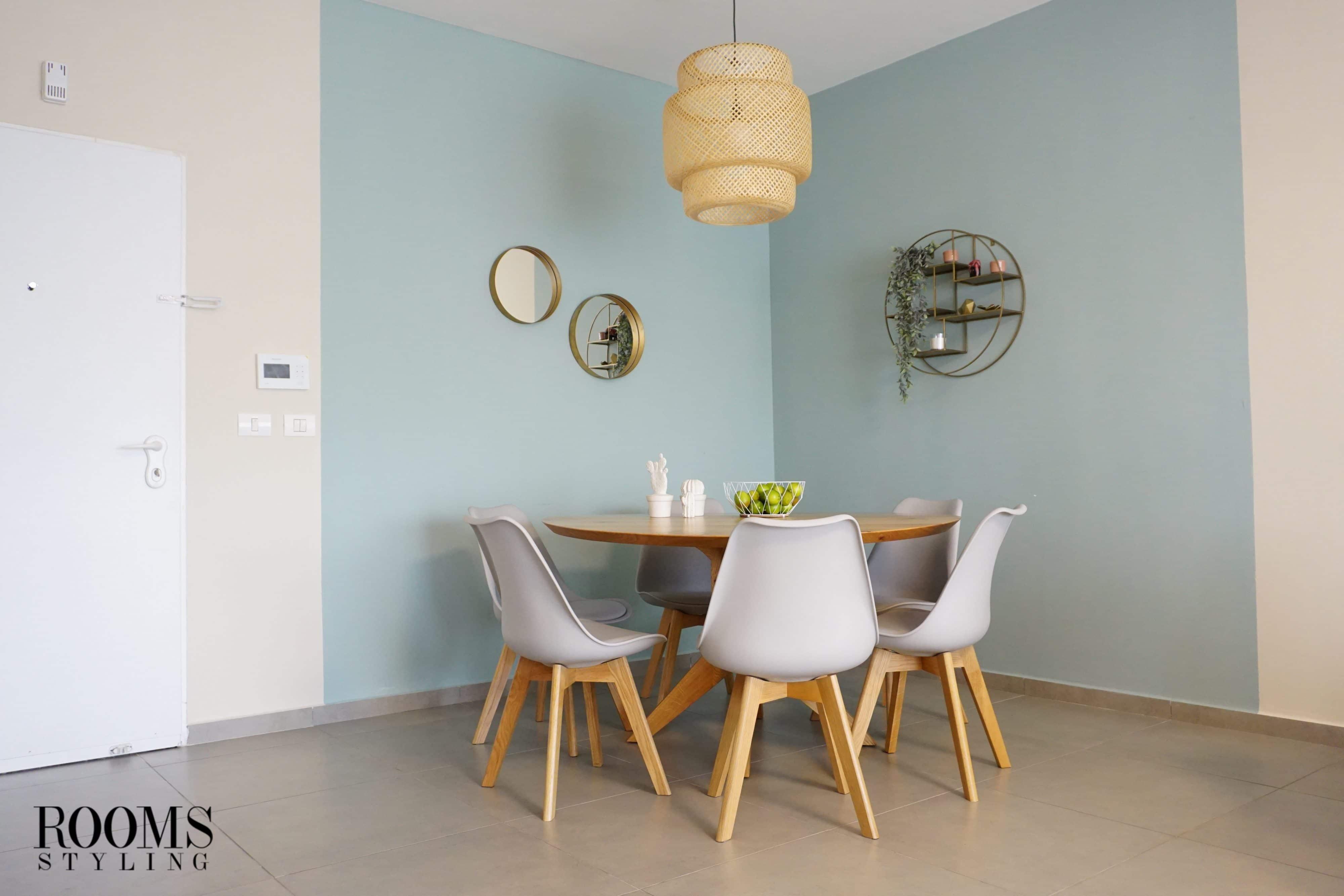עיצוב פינת אוכל עם צבע בקירות